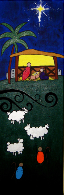 Manger Scene: Acrylic on Canvas: 8x24 inches
